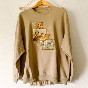 Vintage Hand-Painted African Animals Sweatshirt